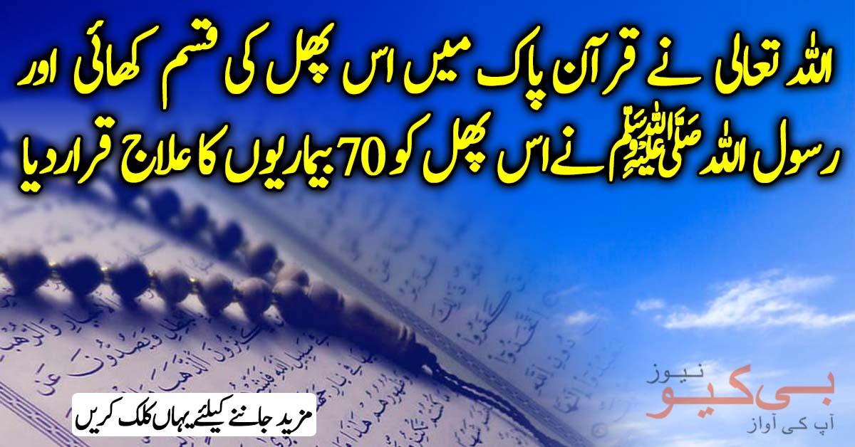 اللہ تعالی نےقرآن پاک میں اس پھل کی قسم کھائی اور رسول اللہﷺ نےاس پھل کو 70بیماریوں کا علاج قراردیا