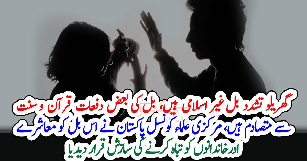 گھریلو ت ش د د بل غیر اسلامی ہیں، بل کی بعض دفعات قرآن و سنت سے متصادم ہیں، مرکزی علماء کونسل پاکستان نے اس بل کو معاشرے اورخاندانوں کو تباہ کرنے کی سازش قرار دیدیا